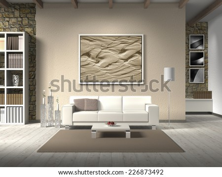 country style living room 3D rendering with white sofa; the photo behind the settee can easily be exchanged