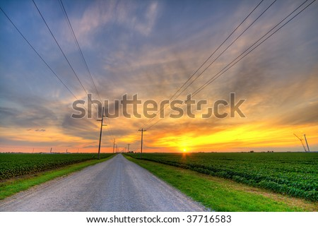 Country sunset - stock photo