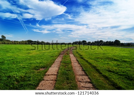 Country tracks in green field bearing right into the distance - stock photo