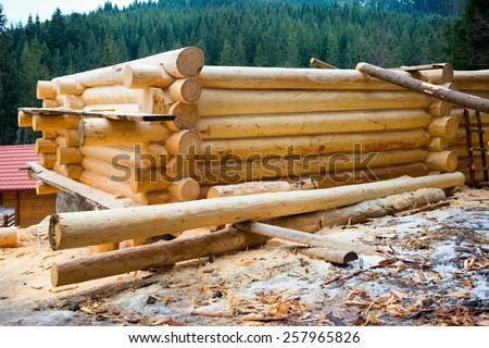 Country wooden house. Construction's details of the loghouse. - stock photo