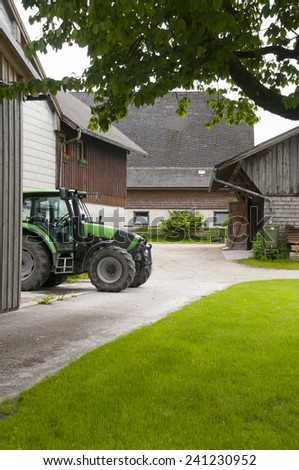 Country yard in Austrian village near Wolfgang see  - stock photo