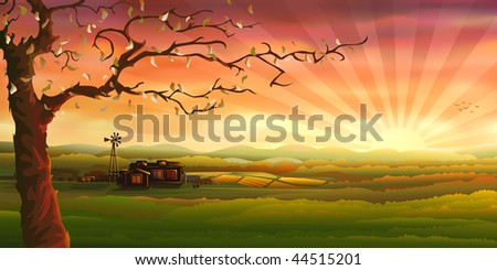 Countryside evening panorama with a tree (.EPS version id 33448939, other landscapes are in my gallery) - stock photo