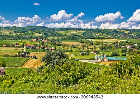 Countryside farmland green scenery in Croatia, region of Prigorje - stock photo