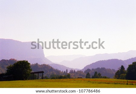 Countryside in Slovenia's Julian Alps, near Bled - stock photo
