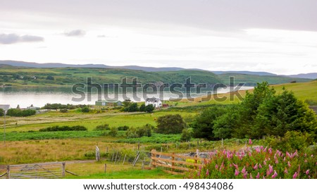 countryside in the Scottish highlands with a lake in the background