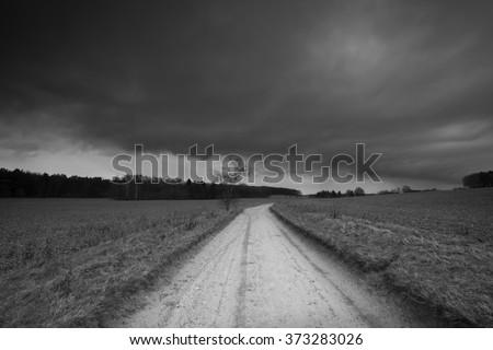 Countryside landscape b&w - stock photo