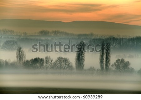 Countryside landscape in fog in winter - stock photo