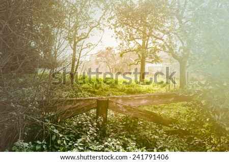 Countryside landscape with old wooden fence - stock photo
