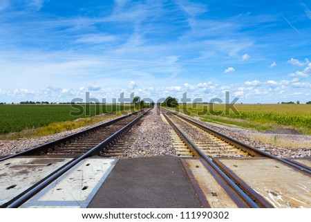 Countryside Railroad With Cloudy Sky