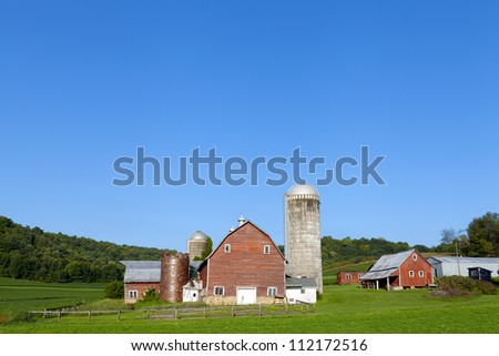 Countryside Red Farm in the morning - stock photo