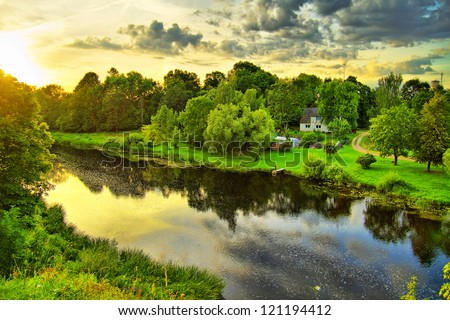 Countryside river - stock photo