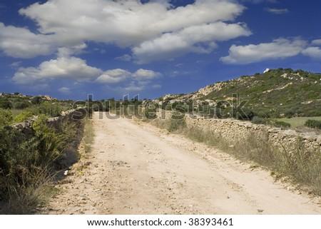 Countryside road in Sardinia,Italy. - stock photo