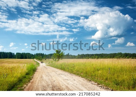 Countryside road with a car - stock photo