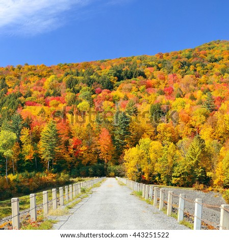 Countryside view of Stowe with Autumn mountains and forest - stock photo