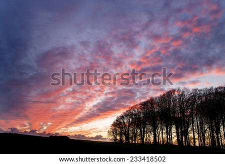 countryside winter landscape at sunset - stock photo
