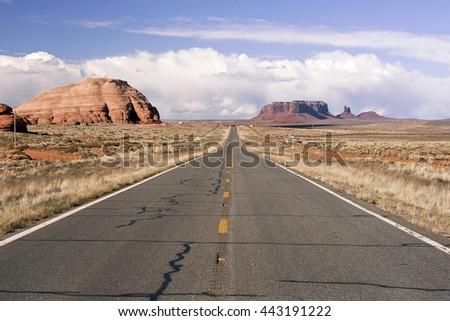 County Highway 91 Littlefield, AZ 86432, USA. Endless road in the desert of Arizona. Navajo Tribal Park Utah - Arizona, USA - stock photo