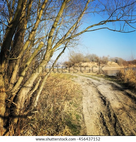 County road in southern Poland - stock photo
