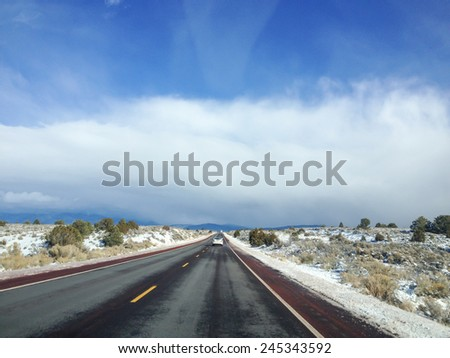 County Road 110 near Ranchos de Taos, NM - stock photo