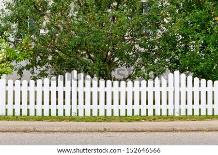 County style white, wooden fence - stock photo