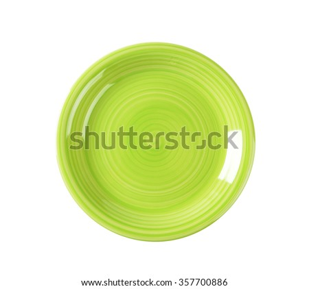 Coupe shaped green soup plate - stock photo
