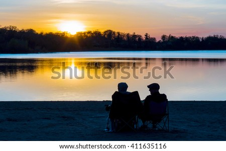 Couple are enjoying sunset