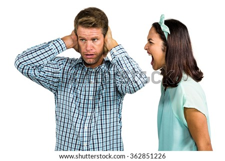 Couple arguing with each other against against white background - stock photo