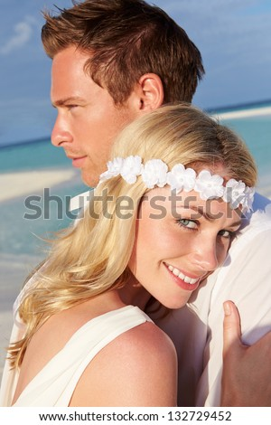 Couple At Beautiful Beach Wedding - stock photo