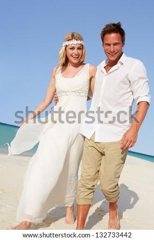 Couple At Beautiful Beach Wedding - stock photo
