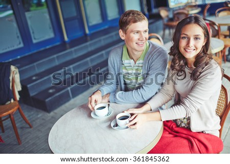 Couple at cafe - stock photo