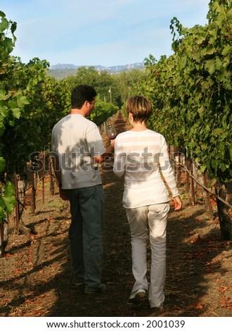 Couple at vineyard - stock photo