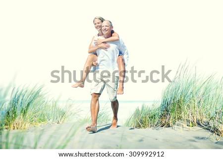 Couple Beach Bonding Getaway Romance Holiday Concept - stock photo