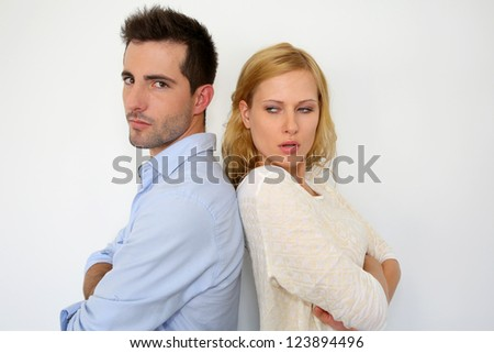 Couple being mad at each other - stock photo