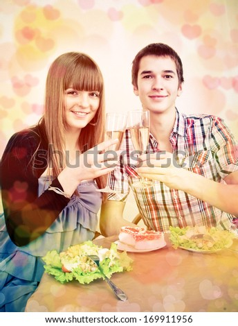 couple celebrates Valentine's Day - stock photo