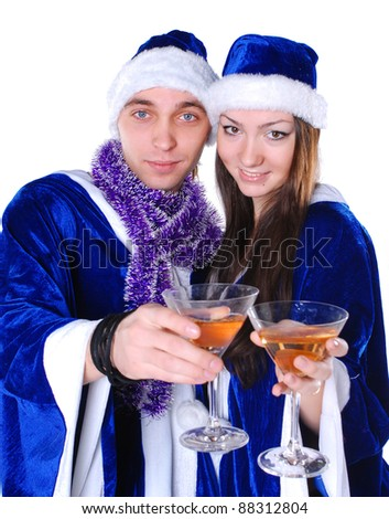 Couple celebrating xmas - stock photo