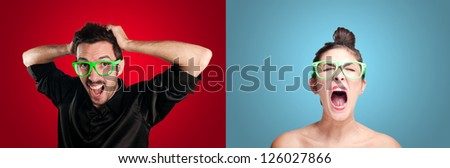 couple crisis on colorful background