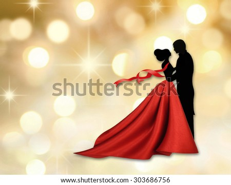 Couple dancing a waltz - stock photo