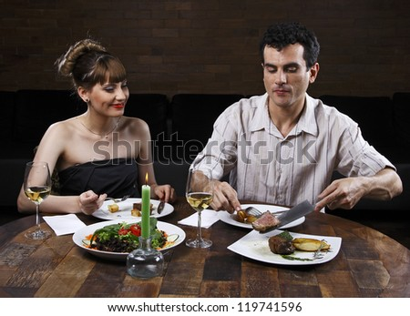 couple dining - stock photo