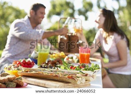 Couple Dining Al Fresco - stock photo