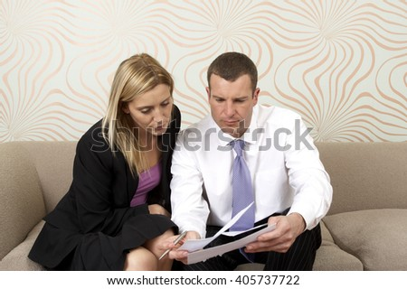 Couple discussing business - stock photo