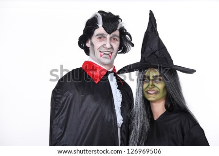Couple dressed for Hallowe'en - stock photo