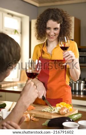 Couple drinking wine. - stock photo