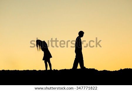 couple ending relationship - stock photo