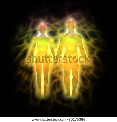 Couple energy body - aura - stock photo