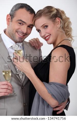 Couple enjoying a romantic evening together - stock photo