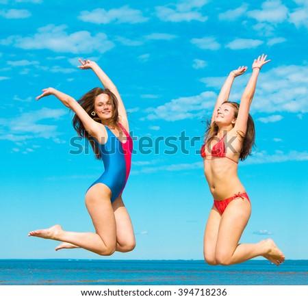 Couple Enjoying Lovely Girls  - stock photo