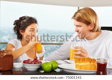 Couple enjoying their time together during breakfast time