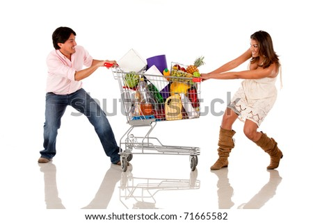Couple fighting over a shopping cart - isolated over white - stock photo