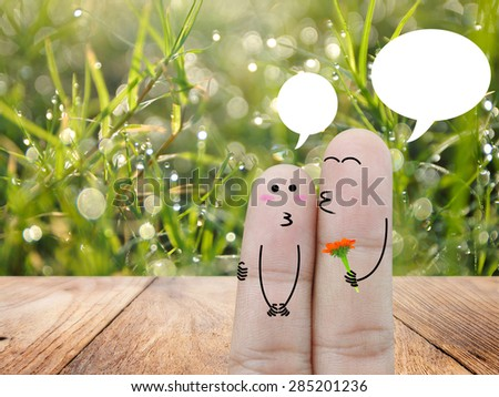 Couple Finger in love , love concept - stock photo