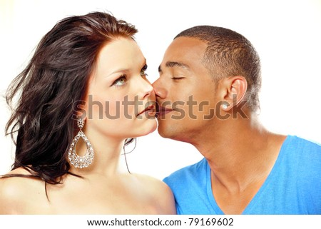 Couple fragrant kiss, emotion and romance