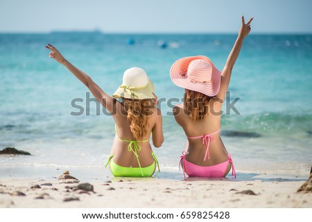 Couple Friends Asian Women Happy On The Beach During At Summer Vacations Holidays